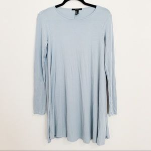 Forever 21 Baby Blue Ribbed Knit Swing Dress